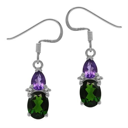 Genuine 2.6 CT Chrome Diopside and Amethyst 925 Sterling Silver Basic Gemstone Dangle Earrings