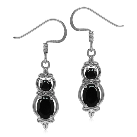 1.9 CT Natural Onyx 925 Sterling Silver Flower Dangle Hook Earrings