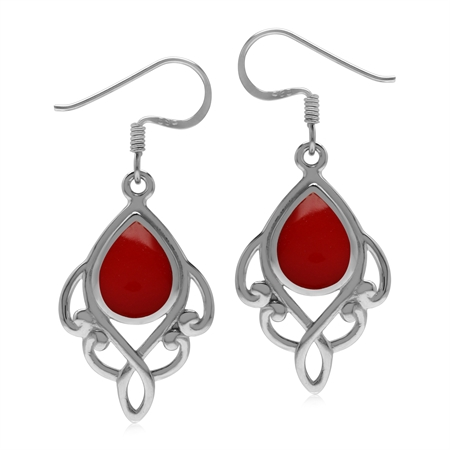 Created Red Coral 925 Sterling Silver Victorian Inspired Dangle Drop Earrings