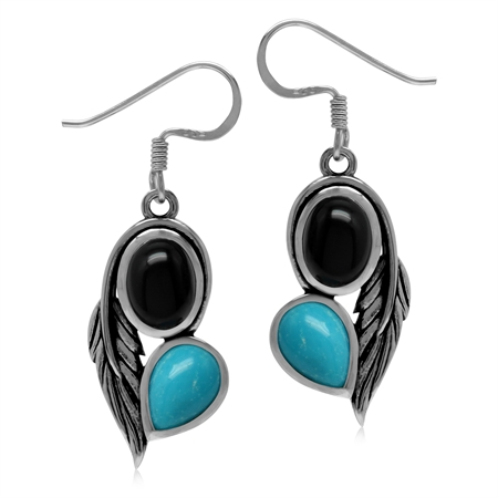 Genuine Black Onyx and Arizona Turquoise 925 Sterling Silver Vintage Inpired Leaf Dangle Earrings