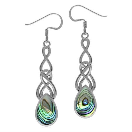 Abalone 925 Sterling Silver Long Celtic Weave Knot Dangle Earrings