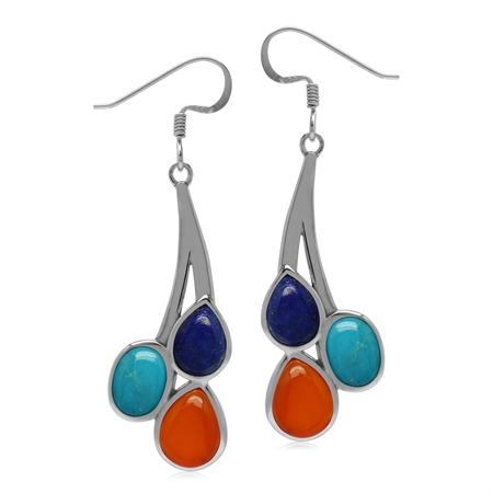 Genuine Multi Gemstones Carnelian Arizona Turquoise and Lapis 925 Sterling Silver Dangle Earrings