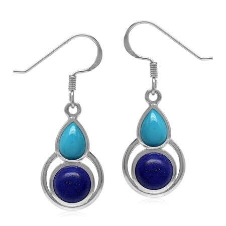 Natural Lapis Lazuli and Arizona Turquoise 925 Sterling Silver Geometric Dangle Hook Earrings