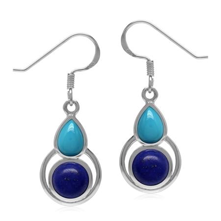 Natural Lapis Lazuli and Arizona Turquoise 925 Sterling Silver Geometric Dangle Hook Earrings
