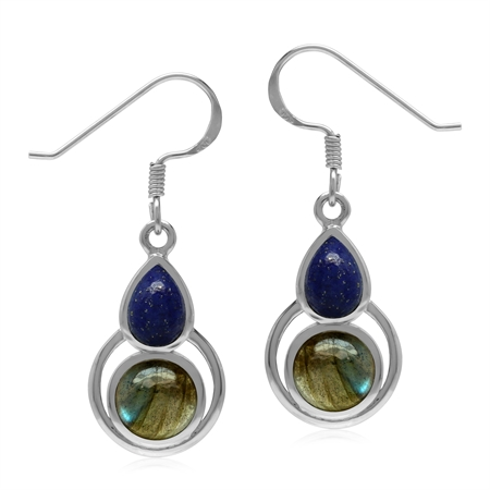 Natural Labradorite and Lapis Lazuli 925 Sterling Silver Geometric Dangle Hook Earrings
