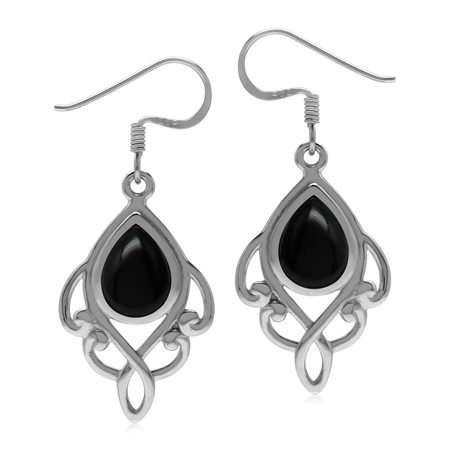 Natural Black Onyx 925 Sterling Silver Victorian Inspired Dangle Drop Earrings