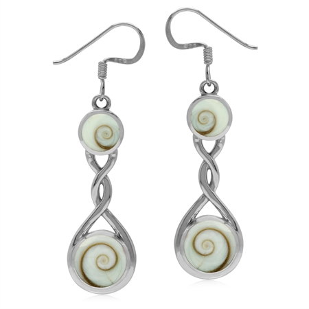 Contemporary Shiva Shell Inlay 925 Sterling Silver Ribbon Knot Dangle Earrings