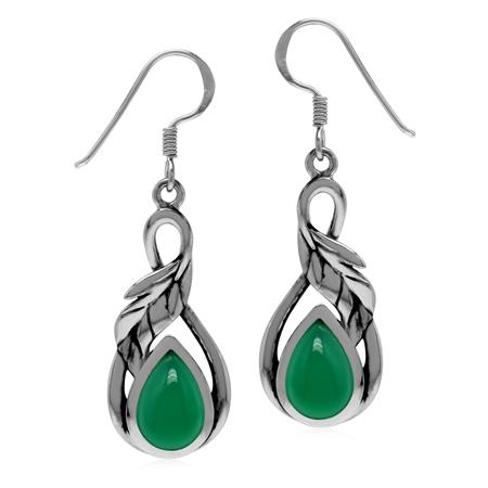 Green Onyx 925 Sterling Silver Dangle Hook Leaf Earrings