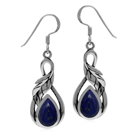 Blue Lapis Lazuli 925 Sterling Silver Dangle Hook Leaf Earrings