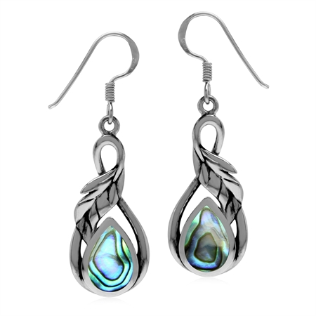 Abalone/Paua Shell 925 Sterling Silver Dangle Hook Leaf Earrings
