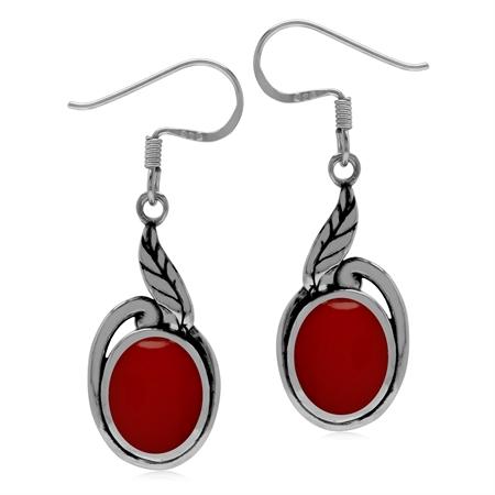 Created Red Coral 925 Sterling Silver Leaf Dangle Hook Earrings