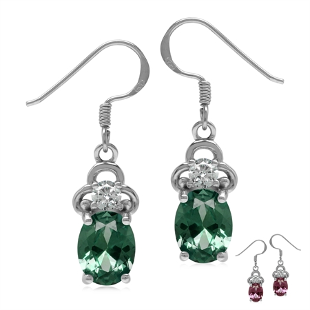 4.4 Ctw Created Color Change Alexandrite 925 Sterling Silver Dangle Earrings