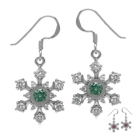 Created Color Change Alexandrite 925 Sterling Silver Snowflake Dangle Earrings