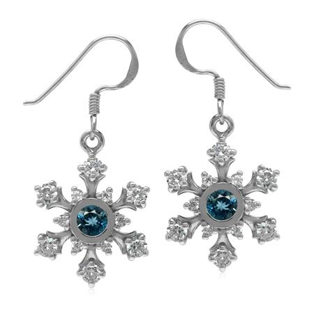 Genuine London Blue Topaz & CZ 925 Sterling Silver Snowflake Dangle Earrings