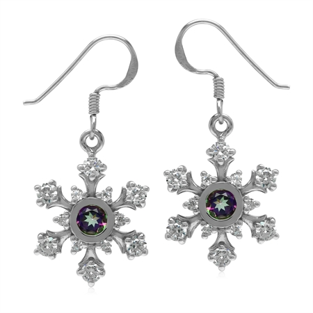 Mystic Fire Topaz 925 Sterling Silver Snowflake Dangle Earrings