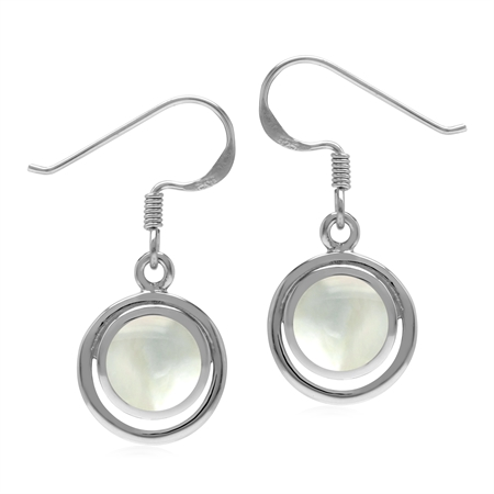 White Mother Of Pearl Round 7 mm 925 Sterling Silver Geometric Dangle Hook Earrings