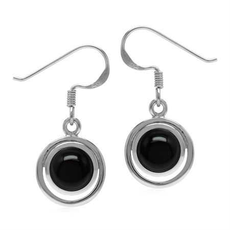 Natural Black Onyx Round 7 mm 925 Sterling Silver Geometric Dangle Hook Earrings