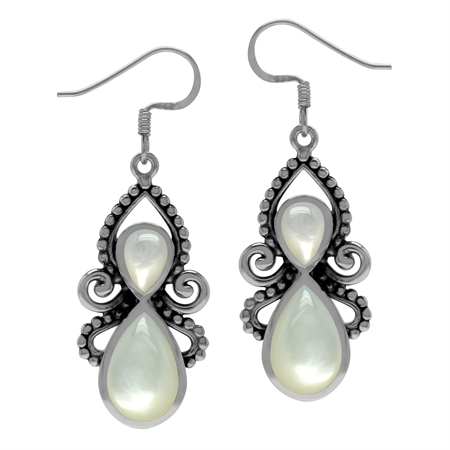 White Mother Of Pearl 925 Sterling Silver Victorian Inspired Dangle Hook Earrings