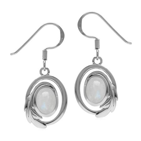 Natural Rainbow Moonstone 925 Sterling Silver Circle Leaf Dangle Hook Earrings