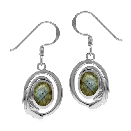 Natural Labradorite 925 Sterling Silver Circle Leaf Dangle Hook Earrings