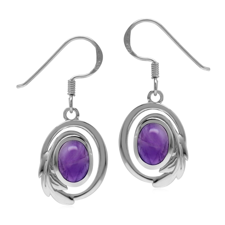 Genuine Purple Amethyst 925 Sterling Silver Circle Leaf Dangle Hook Earrings