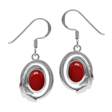 Created Red Coral 925 Sterling Silver Circle Leaf Dangle Hook Earrings