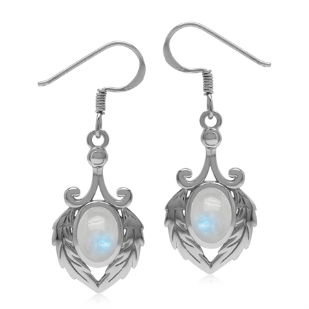 Natural Rainbow Moonstone 925 Sterling Silver Victorian Feather Dangle Hook Earrings