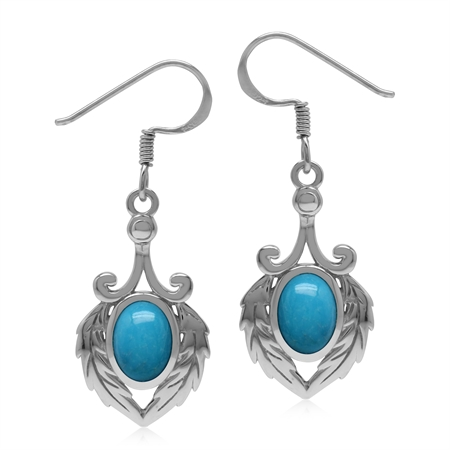 Genuine Arizona Turquoise 925 Sterling Silver Victorian Feather Dangle Hook Earrings