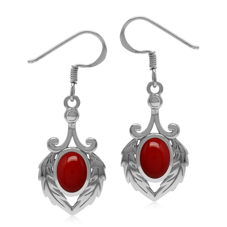 Created Red Coral 925 Sterling Silver Victorian Feather Dangle Hook Earrings
