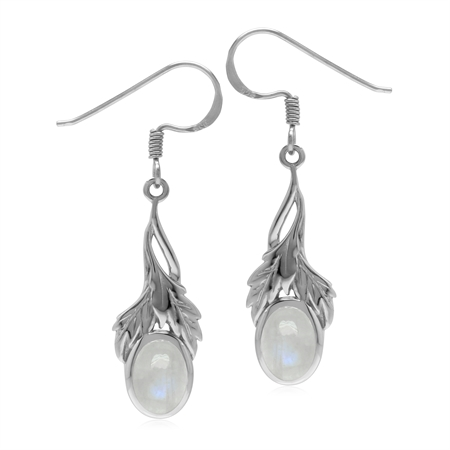 Natural Rainbow Moonstone 925 Sterling Silver Leaf Dangle Hook Earrings