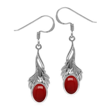 Created Red Coral 925 Sterling Silver Leaf Dangle Hook Earrings