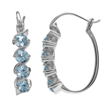 Light Blue Aquamarine Santa Maria Color 925 Sterling Silver Hoop Earrings Limited Offer
