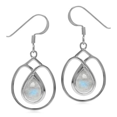 Natural Rainbow Moonstone 925 Sterling Silver Dangle Hook Wire Earrings