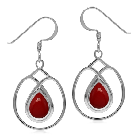 Created Red Coral Stone 925 Sterling Silver Dangle Hook Wire Earrings