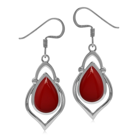 Created 12x8mm Red Coral Stone 925 Sterling Silver Victorian Inspired Drop Dangle Earrings
