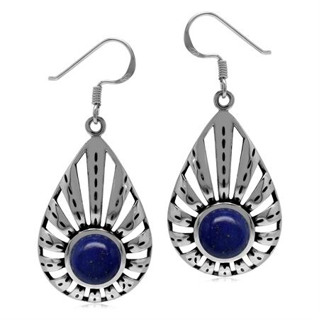 1920s Art Deco Gatsby Style Natural Blue Lapis Lazuli Gem 925 Sterling Silver 8mm Drop Earrings