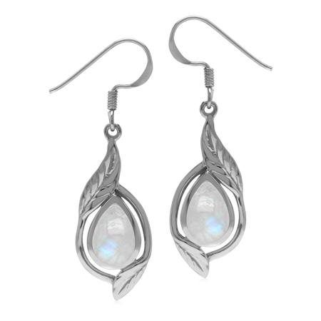 Natural Pear Shape 10x7 mm Rainbow Moonstone 925 Sterling Silver Leaf Drop Dangle Hook Earrings