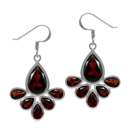 Natural Red Garnet Stone 925 Sterling Silver Drop Fan Shape Dangle Hook Earrings