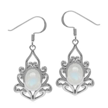 Natural 9x7 mm Rainbow Moonstone 925 Sterling Silver Victorian Inspired Drop Dangle Hook Earrings