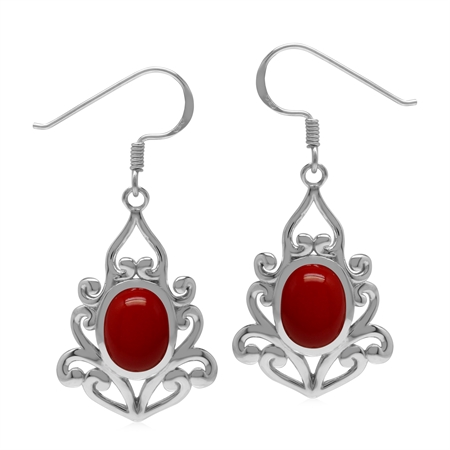 Created 9x7 mm Red Coral Inlay 925 Sterling Silver Victorian Inspired Drop Dangle Hook Earrings