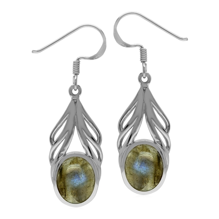 Natural Oval 10x8 mm Labradorite Stone 925 Sterling Silver Elegant Drop Dangle Hook Earrings