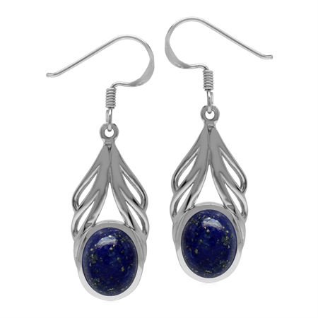 Natural Oval 10x8 mm Blue Lapis Lazuli Stone 925 Sterling Silver Elegant Drop Dangle Hook Earrings