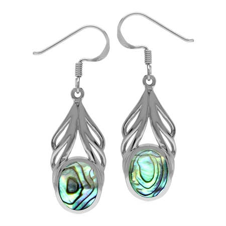 Oval 10x8 mm Abalone/Puau Shell  Inlay 925 Sterling Silver Elegant Drop Dangle Hook Earrings