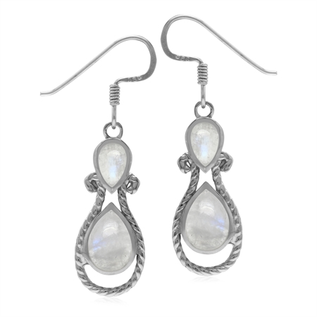 Roman Byzantine Style Rainbow Moonstone 925 Sterling Silver Rope Dangle Hook Earrings