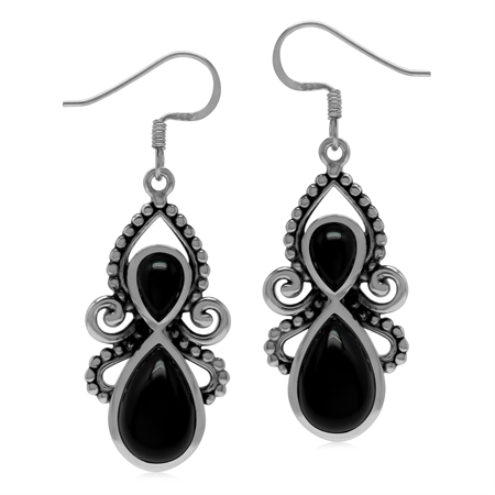 Natural Black Onyx Stone 925 Sterling Silver Dangle Hook Earrings