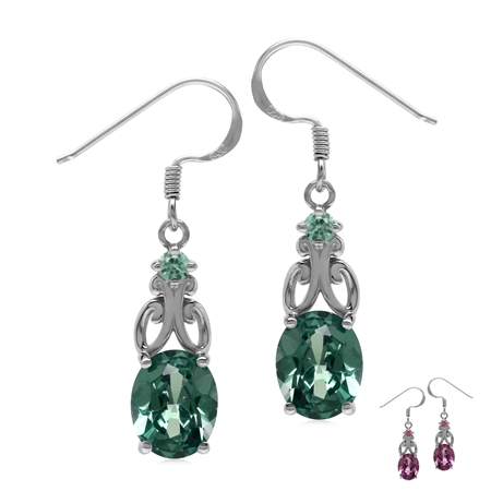 6.6 Ctw Created Color Change Alexandrite 925 Sterling Silver Victorian Inspired Dangle Earrings