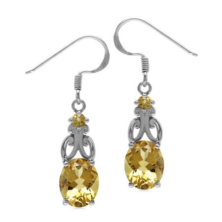 4.7 Ctw Genuine Yellow Citrine Stone 925 Sterling Silver Victorian Inspired Dangle Earrings