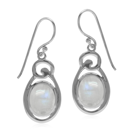 Rainbow Moonstone Oval 10x8 mm 925 Sterling Silver Contemporary Dangle Hook Earrings