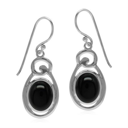 Black Onyx Oval 10x8 mm 925 Sterling Silver Contemporary Dangle Hook Earrings