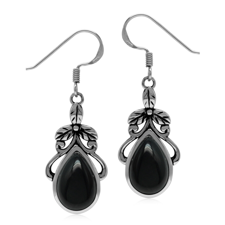 Natural Black Onyx Stone 925 Sterling Silver Victorian Floral Drop Dangle Hook Earrings